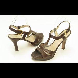 Prada Sandal Dark Brown Leather Size 37.5 Heel